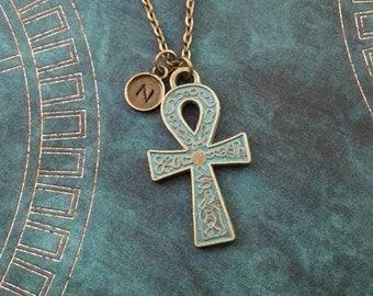 Ankh Necklace Patina Ankh Jewelry Bronze Ankh Charm Necklace Blue Ankh Pendant Necklace Egyptian Necklace Egyptian Jewelry Egyptian Necklace