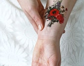 Floral vintage temporary tattoo / floral temporary tattoo / flower temporary tattoo / flower gift / flower accessoire / floral fake tattoo