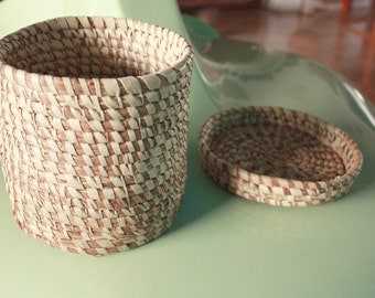 """African Braided Basket, Handmade with Straw. Round Shape with lid. Perfect Storage. 7""""x 7"""" Ethically Made in West Africa. Free ship"""