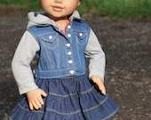 """Clearance! 18 Inch Doll Hoodie Vest -Denim Vest with Hood & Sleeves - American Made Doll Jacket - 18"""" Doll Jacket - 18 Inch Doll Clothes"""