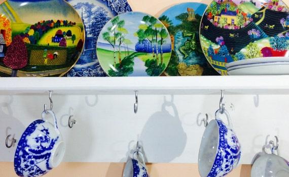 kitchen storage floating shelf /mug wall hanging china tea cup display /recycled wood coffee cup holder / plate dish organizer 10 XL hooks