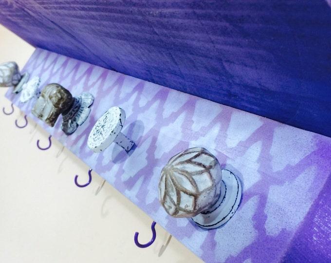 Geometric nursery shelf baby girl room bath towel hanger decorative reclaimed wood decor hanging organizer 6 lavender hooks Elephant 5 knobs