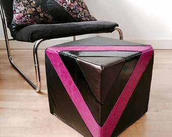 Leather Footstool | Quilted Leather Pouf in in black and fuchsia | Leather Ottoman | Pouffe | Handmade Footstool | Housewarming Gift