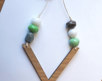 Green, Grey and White Lamp-work Glass beads with Wooden V pendant necklace