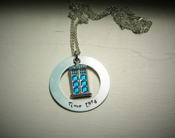 Time Lord, hand stamped necklace