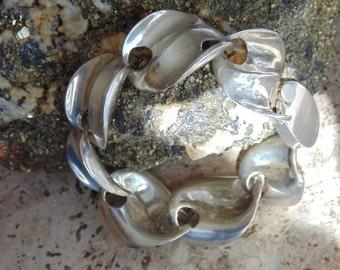 D'Molina ~Vintage Mexican Sterling Silver Wavy Link Bracelet ~ 48 Grams