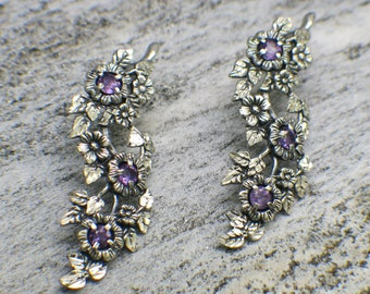 Sterling Silver Purple Sunflower Earrings