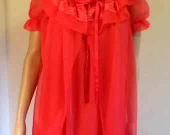 Vintage 1960's Red Peignor Set W/ Flounce Collar Puff Sleeves Size Small/Medium by Lorraine Lingerie Valentine's Day