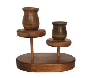 Vintage wood candleholder unique wooden dual candle holder