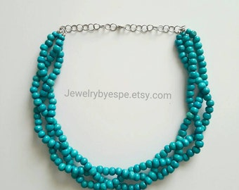 Rustic Blue Statement Necklace, Turquoise Necklace, Blue Wedding Jewelry, Blue Multi Strand Necklace, Bib beaded Bridesmaid Jewelry