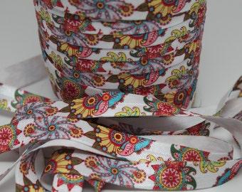 Flower Print FOE 5/8 -Fold Over Elastic 5/8 inch by the yard...Print FOE, Headbands, Hair Ties and More!