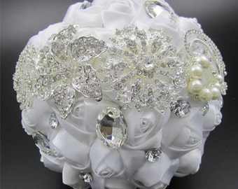 White Satin Bridal Bouquet - Roses Pearls Crystals