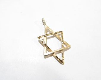 14K Solid Gold Star Of David Pendant