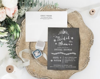 Printable Chalkboard Bridal Shower Invitation Template, Editable Text, Rustic Wedding Shower Invitation, DIY Instant Download, 006