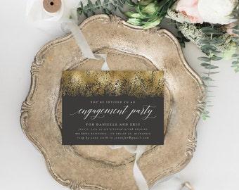 Printable Engagement Party Invitation, Elegant Engagement Invitation Template, Gold Foil Engagement Invitation, DIY Party Invitation