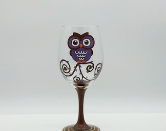 Cute Purple Owl Hand Painted Wine Glass Tree Branch