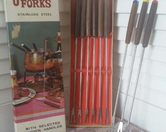 Vintage Wood handled Stainless Steel Fondue Forks in original box - 9 + 1 free