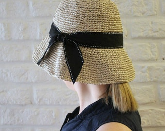 Foldable summer sun hat, Beach hat,  Raffia straw hat, Women's hats, Crochet raffia hat medium brim, Floppy hat, Cloche, Bucket hat