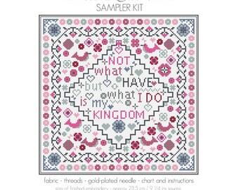 CROSS STITCH KIT My Kingdom Sampler by Riverdrift House