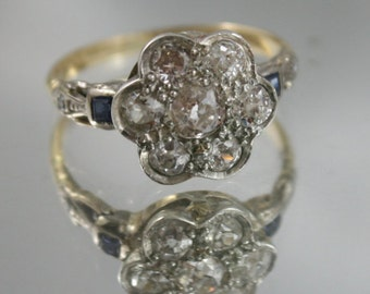 Free post..Antique genuine Art Deco genuine,18kt,750 gold ring old rose cut Diamonds,1.6CT sapphire cluster ring,DIA certificate,USA sz 7.5