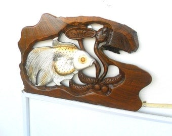 """Wood Carving Silver Fish With Lotus Flower Hand Carved Natural Teak Wood  Fish Wall Hanging Art Home Decor Handmade / Gift 13.75"""" x 9"""""""