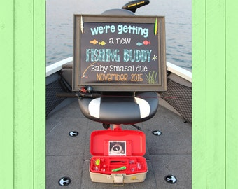 Fishing Buddy Pregnancy Announcement Chalkboard | We're Getting a New Fishing Buddy | Pregnancy Reveal | Fishing | *DIGITAL FILE*