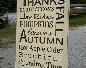 """Custom Carved Wooden Sign - """"Harvest, Thanksgiving, Scarecrows, Hay Rides ..."""" - 8""""x16"""""""