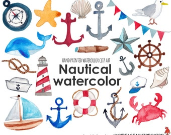 Nautical clip art, sea clipart, anchor, sail boat, sea shell, hand painted watercolor clipart (5239)