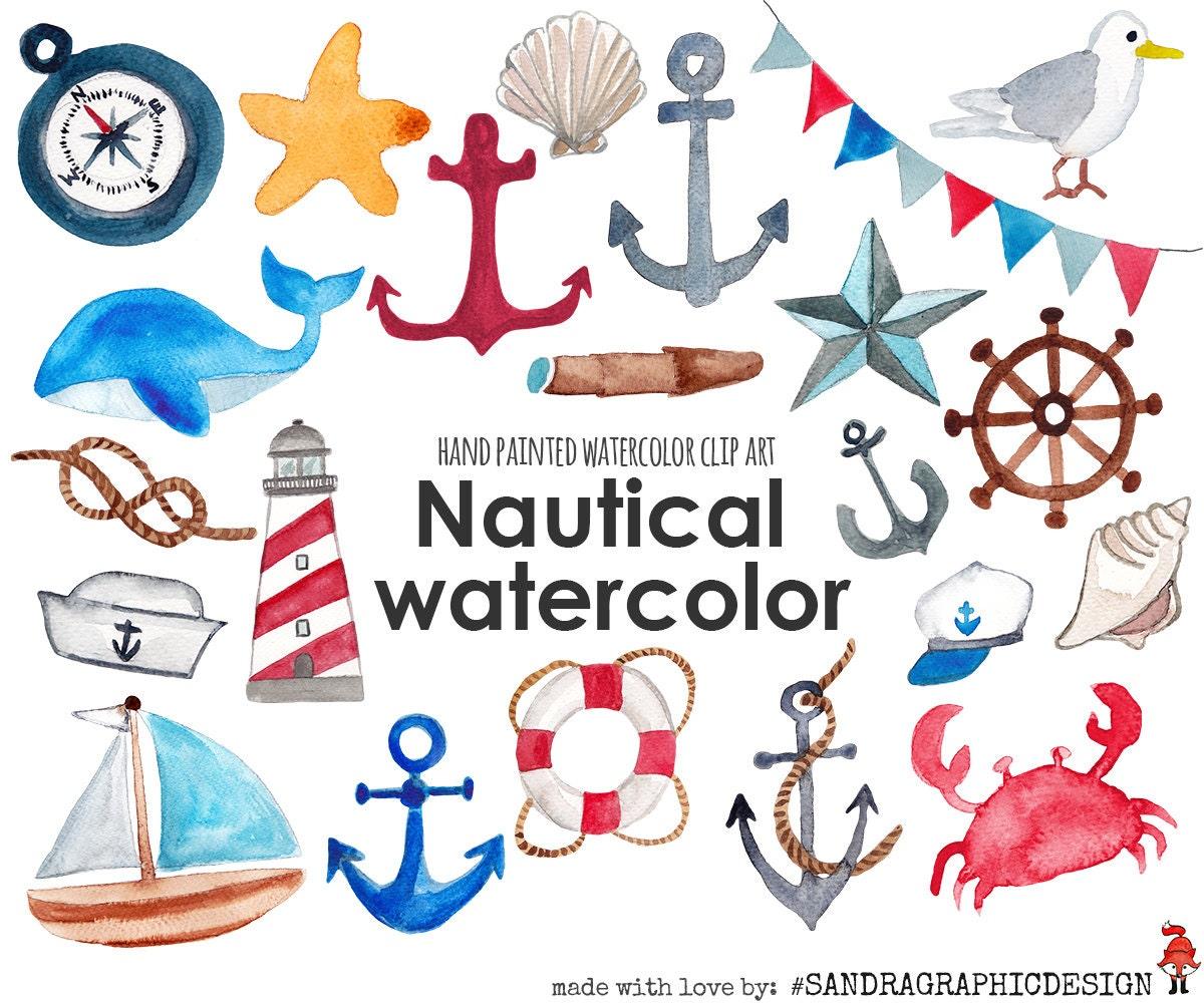 Nautical clip art, sea clipart, anchor, sail boat, sea ...