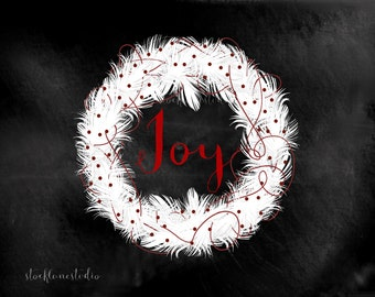 Printable Wreath Decor, JOY Christmas Party art, red white digital holiday Wreath, chalkboard style wall decor, jpg pdf png, 8x10 14x18 SLS