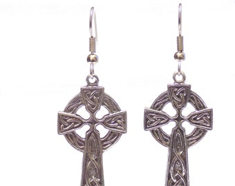 Earrings, silver earrings, celtic cross earrings, cross earrings, celtic earrings, pewter charm earrings, Irish earrings, silver earrings