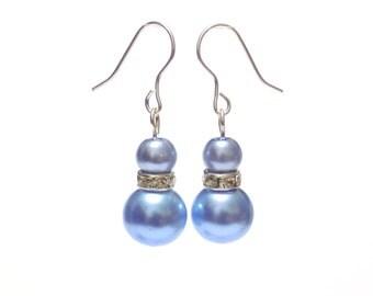 pearl earrings, blue earrings, dangle earrings, earrings, bridesmaid earrings, drop earrings