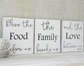Bless The Food Before Us The Family Beside Us and the Love Between us Dining Room Shabby Chic Kitchen Black and White Home Decor Fixer Upper