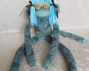 Sock Monkey / Organic Cotton / Wood Button Eyes / Blue Flowers / Pigtails / Organic Baby Toy / Organic Baby Gift / Unique Gift