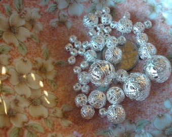 Lovely Delicate Filigree Ball Spacer/ Beads. 4 Sizes! Lightweight Silver Plt Filigree Balls. 4,6,8 and 12mm  ~USPS Ship Rates from Oregon