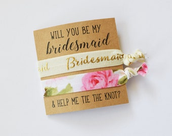 Will You Be My Bridesmaid // Help Me Tie the Knot // Bridesmaid Proposal// Bridesmaid Gift // Bridesmaid Two Hair Ties