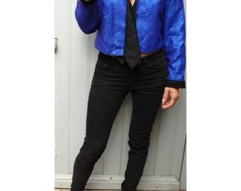 Blue Glitter 1980s  Disco crop  inspired JACKET by Laura Vanvolsem //size us6