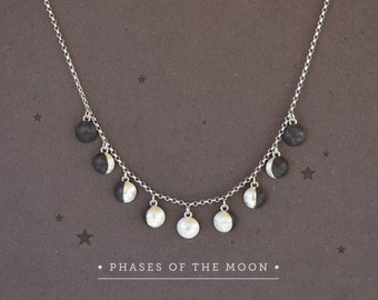 Moon Phases Necklace Phases of the Moon Charms Sterling Silver Moon Necklace,Moon Phase Jewelry,Lunar Jewelry,Moon Jewelry,Astronomy Jewelry
