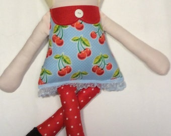 "Handmade Retro Mama Greta Cloth Doll 19"" Paislee Plush Softie Rag Doll With Blonde Wool Felt Hair"