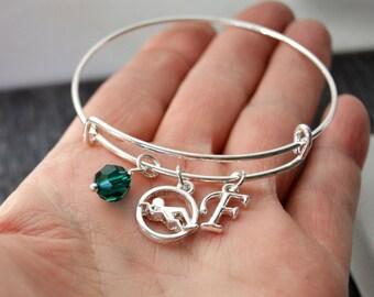 Swim Team Gifts, Swimming, Swimmer Birthstone Bangle Bracelet, Initial Letter Bracelet, Silver Bangle Swarovski Personalized Bangle Bracelet