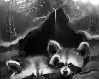 Raccoon mountain print, wall art, digital painting, home decor,