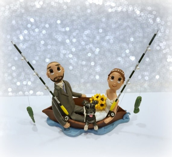 Custom Fishing In Boat Couple Wedding Cake Topper