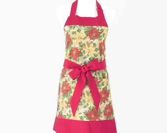 Womens Christmas Apron, Christmas Floral Apron, Red & Green Christmas Hostess Apron, Personalized Apron Christmas Gift Mom, Wife, Chef Style
