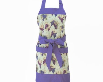 Women Grapes Apron, Fruit Apron, Purple Kitchen Apron Large Pockets, Purple Full Coverage Apron, Grapes Kitchen Apron, Personalized Apron