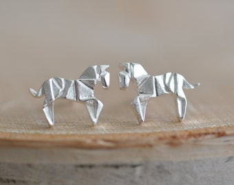 Origami Horse Stud Earrings in Sterling Silver 925, Silver Horse Earrings, Origami Animal Jewelry, Origami Jewelry, Jamber Jewels 925