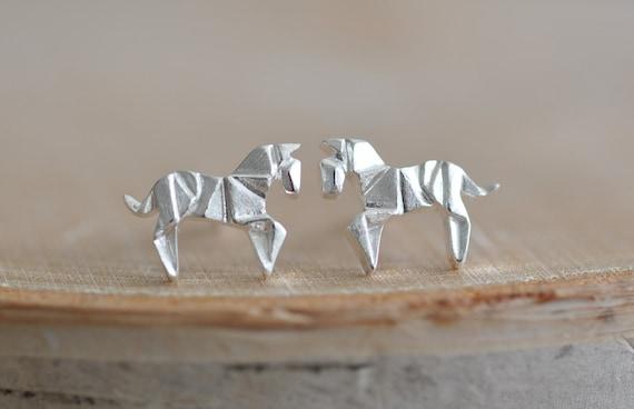 Origami cheval boucles d'oreilles en argent Sterling 925, argent boucles d'oreilles de cheval, bijoux animaux en Origami, bijoux Origami, jambes bijoux 925