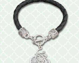 Bicycle Leather Bracelet