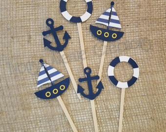12 Nautical Cupcake Toppers   Anchor Cupcake Toppers   Sailboat Cupcake  Toppers   Nautical Baby Shower