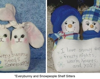 Everybunny and Snowpeople Shelf Sitters Pattern for sewing