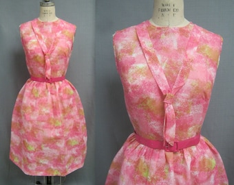 """Vintage late 50s 60s Fit and Flare DRESS Pink WATERCOLOR Print Sailor Tie NOS Bust 40"""""""